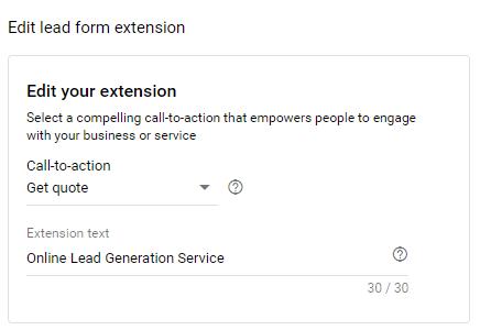 create a lead form generation cta
